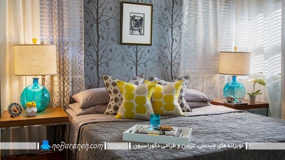 اتاق خواب های زیبا که با زرد و خاکستری تزیین شده اند