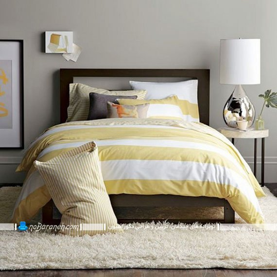 اتاق خواب های زیبا دیزاین شده با زرد و خاکستری
