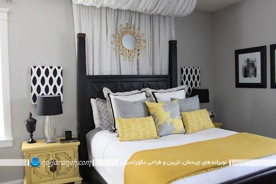 طراحی دکوراسیون کلاسیک در اتاق خواب با رنگ زرد و خاکستری