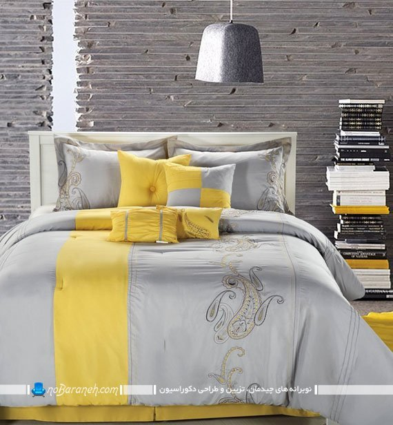 روتختی و روبالشی طرح دار و زیبا با رنگ بندی طوسی و زرد