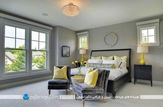 دیزاین شیک سلطنتی اتاق عروس با خاکستری یا طوسی