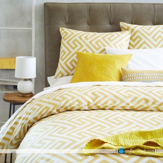 دیزاین اتاق خواب با رنگهای زرد و خاکستری