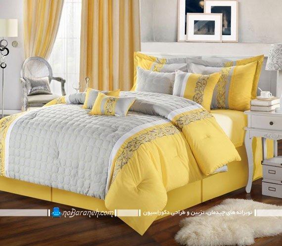 تزیین تخت خواب با زرد و خاکستری