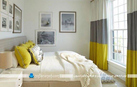 استفاده از سه رنگ سفید و زرد و خاکستری در دکوراسیون اتاق خواب