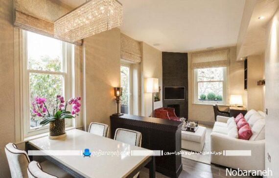 طراحی دکوراسیون شیک و مدرن در اتاق و سالن پذیرایی و نشیمن، میز ناهار خوری چهار نفره مناسب فضاهای کوچک و نقلی، مدل مبلمان راحتی برای اتاق نشیمن کوچک
