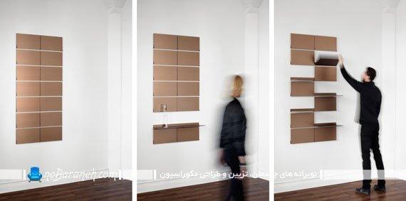 شلف تزیینی شیک و مدرن. قفسه و طبقه دیواری تاشو