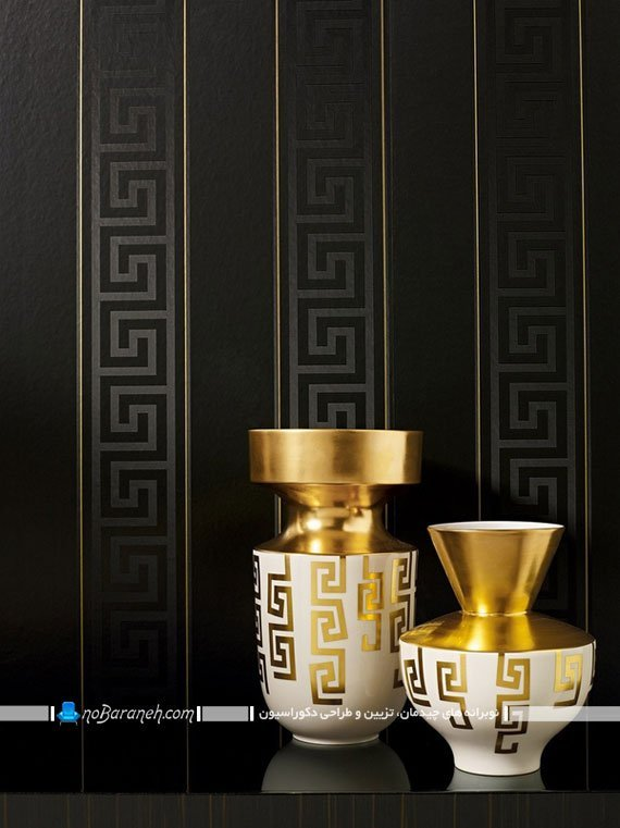 کاغذ دیواری شیک و سلطنتی مشکی. کاغذ دیواری سیاه رنگ طرح دار شیک زیبا مدرن کلاسیک