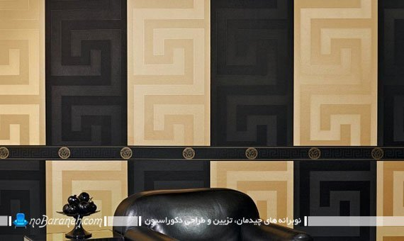 کاغذ دیواری کلاسیک طلایی و مشکی