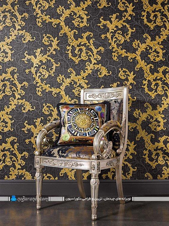 مدل جدید کاغذ دیواری کلاسیک و سلطنتی. کاغذ دیواری سلطنتی طرح دار با زمینه خاکستری و طرح طلایی