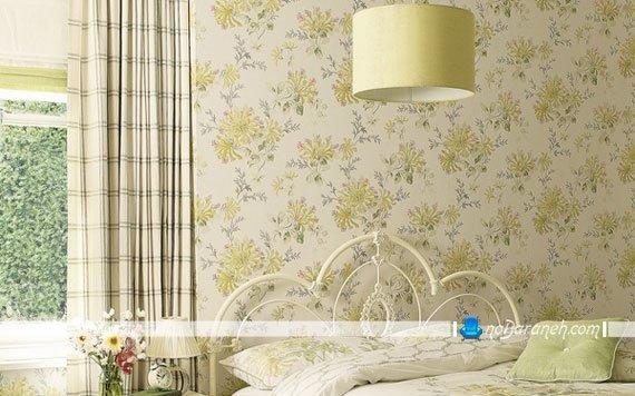 کاغذ دیواری شیک اتاق خواب با طرح گل