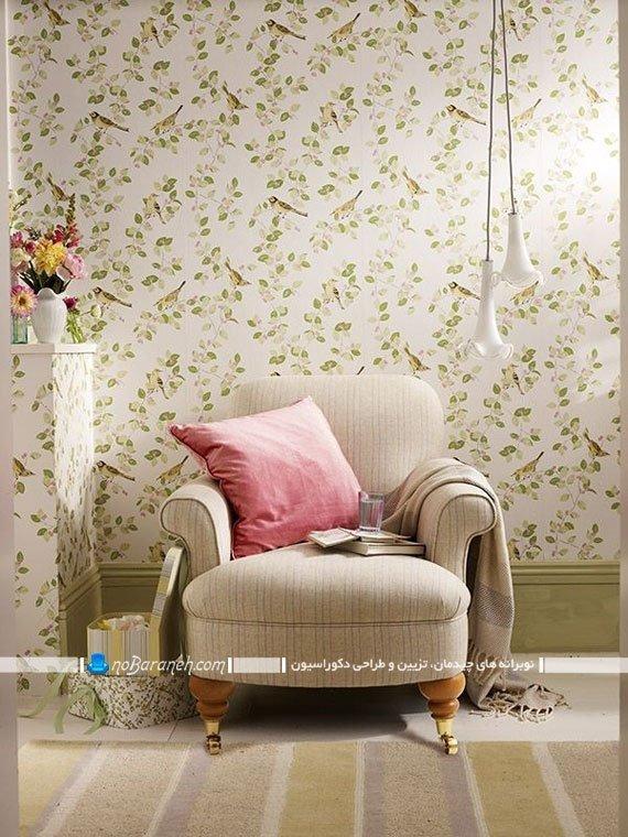 کاغذ دیواری اتاق خواب با طرح گل و بلبل
