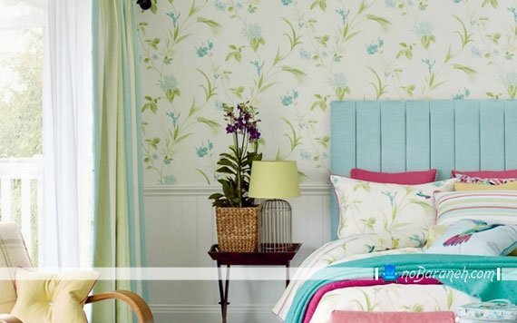 کاغذ دیواری اتاق خواب با طرح گلهای زیبا