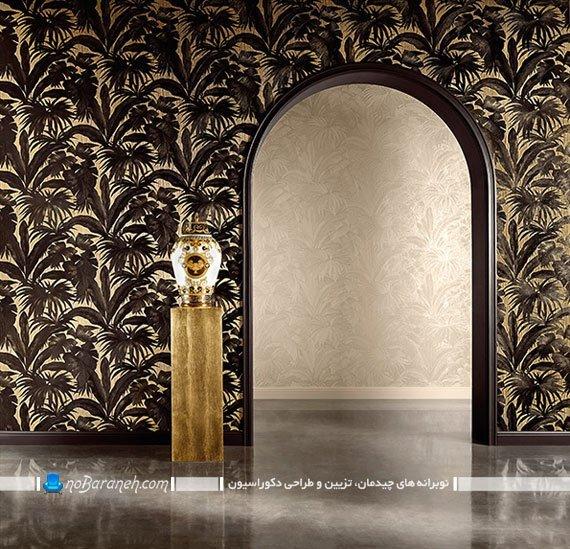 کاغذ دیواری کلاسیک و سلطنتی سیاه و طلایی. طرح های جدید کاغذ دیواری. مدل کاغذ دیواری سلطنتی و کلاسیک شیک زیبا