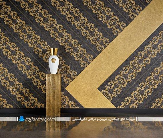 کاغذ دیواری کلاسیک مشکی و طلایی. کاغذ دیواری سلطنتی سیاه و طلایی با طرح شیک فانتزی