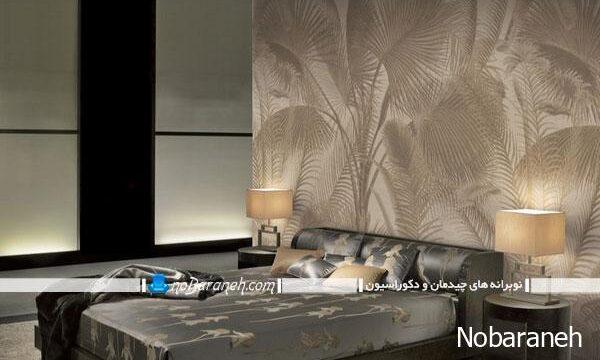 کاغذ دیواری مدرن و ساده با طرح نخل برای اتاق خواب