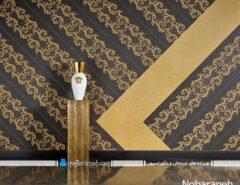 کاغذ دیواری زیبا و کلاسیک طرح دار مشکی و طلایی