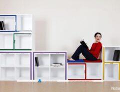 کتابخانه چند تکه کاربردی مناسب محیط های کوچک و نقلی. این کتابخانه جادار با صندلی و میزهای مخفی خود بسیار می تواند برای خانه های کوچک ماسب باشد.