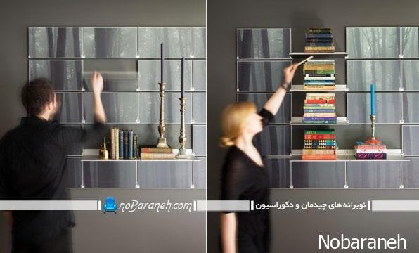 شلف و طاقچه های فانتزی و شیک با طراحی تاشو و چیدمان ظریف و شیک در کنار هم، مدل های جدید شلف غیر چوبی برای تزیین دیوار فضاهای مسکونی و اداری و فروشگاهی