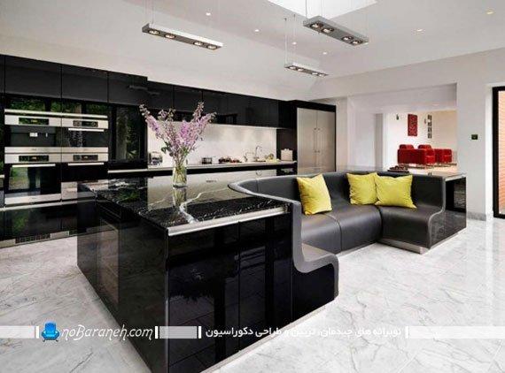 اپن جزیره آشپزخانه با مبلمان راحتی. جدیدترین مدل میز اپن آشپزخانه. طرح و مدل شیک و جدید اپن آشپزخانه