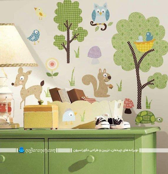 استیکر دیواری و تزیینی کودک با طرح باغ وحش