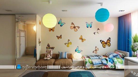 استیکر اتاق بچه با طرح پروانه