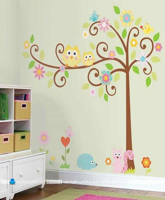 استیکر فانتزی و کارتونی اتاق کودک با طرح درخت و پرنده، تزیین دکوراسیون دخترانه اتاق بچه ها با استیکر