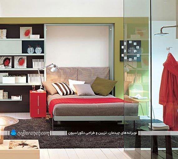 تخت خواب دیواری تاشو با میز تحریر کمجا