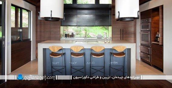 تزیین دیوار آشپزخانه اپن. تزیین میز اپن آشپزخانه با هزینه کم و ارزان. دکوراسیون شیک آشپزخانه با کابینت قهوه ای رنگ