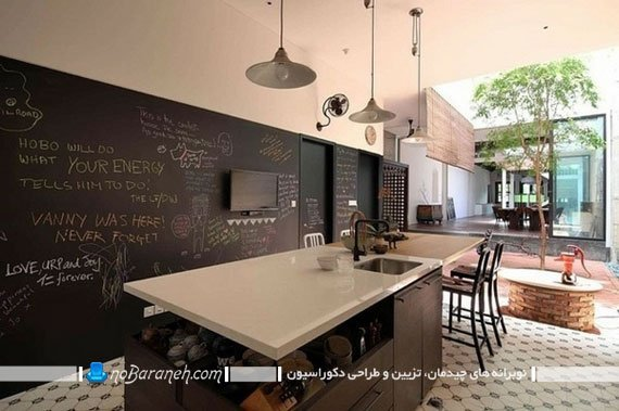 مدل جدید تزیین دیوار آشپزخانه. مدل کابینت جزیره آشپزخانه. تزیین دیوار آشپزخانه