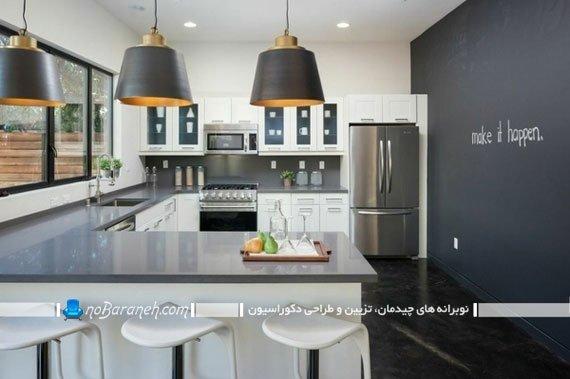 تزیین دیوار آشپزخانه با تخته سیاه. عکس دکور آشپزخانه با سیاه و سفید. تزیین شیک و ارزان دیوار آشپزخانه