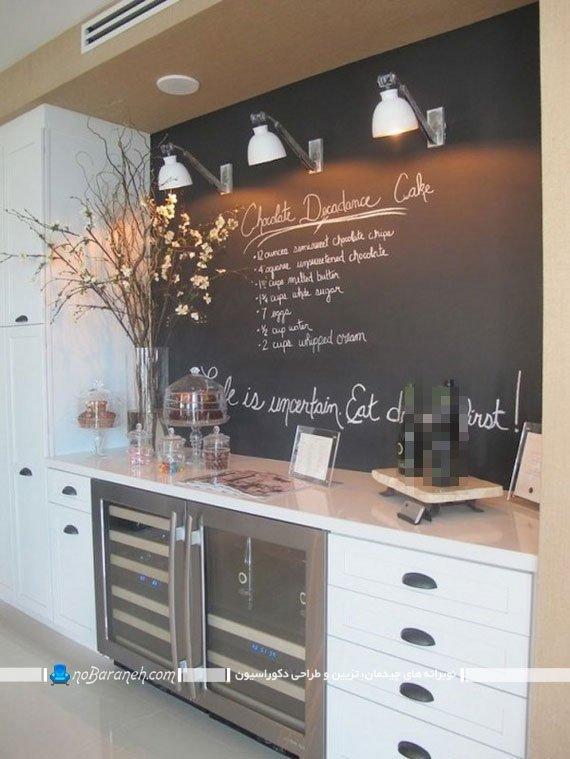 دیوارپوش آشپزخانه با طرح جدید و خلاقانه. تزیین ارزان دیوار بین کابینتی. دکوراسیون و نورپردازی دیوار بین کابینتی