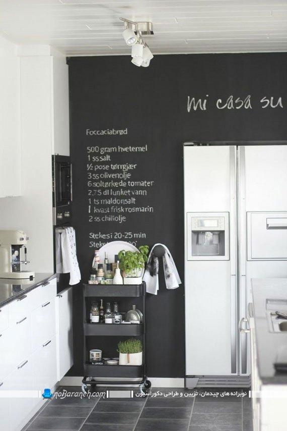 تزیین دیوار اشپزخانه به شکل شیک و ساده. تزیین دیوار آشپزخانه با هزینه کم و ارزان. دکوراسیون شیک آشپزخانه با رنگ سیاه و سفید. عکس تزیین دیوار آشپزخانه اپن