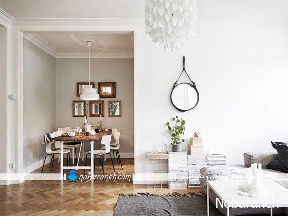 طراحی داخلی منزل با طرح چوب و رنگ سفید