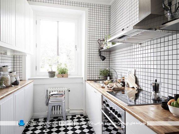دکوراسیون ساده و شیک آشپزخانه با سفید