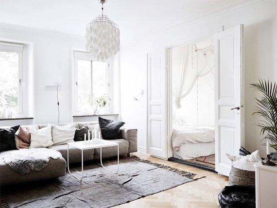 دکوراسیون داخلی منزل با طرح چوب و رنگ سفید