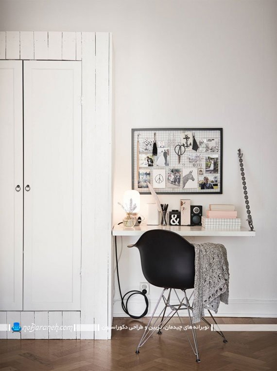 مدل میز چوبی کمجا با رنگ سفید