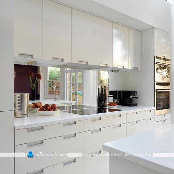 بین کابینت آینه ای برای کابینت های سفید رنگ. مدل های جدید دیوارپوش و کاشی و آئینه بین کابینتی