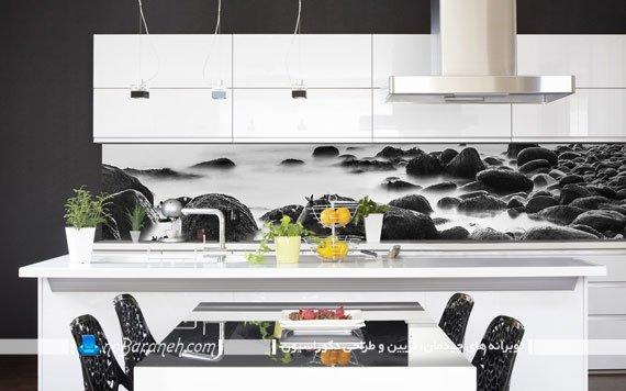 دیوارپوش بین کابینتی چاپی مدرن شیک با طرح جدید. مدل های جدید بین کابینت برای کابینت های سفید رنگ مدرن.