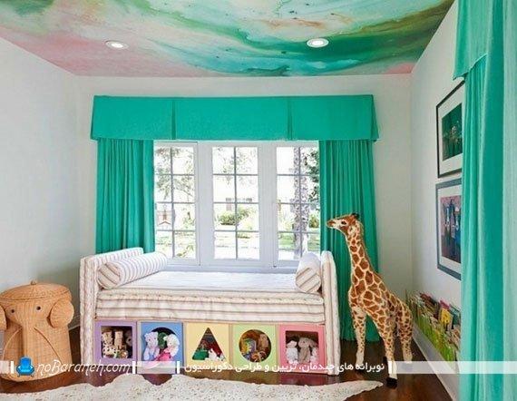 پرده فیروزه ای اتاق کودک / عکس. تزیین اتاق کودک با رنگ سبز. تزیین و دکوراسیون شیک اتاق بچه با عکس