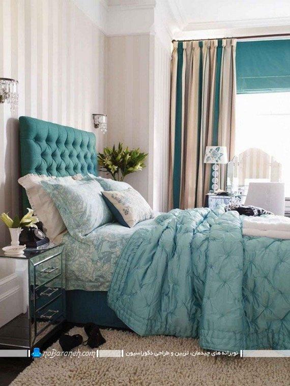 تزیین و دکوراسیون اتاق خواب با فیروزه ای. دیزاین اتاق و تخت خواب با فیروزه ای. دکوراسیون سلطنتی منزل با سبز و آبی فیروزه ای