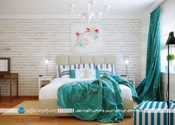 پرده فیروزه ای برای تزیین اتاق عروس / عکس