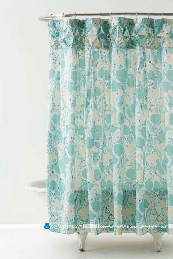 مدل های شیک دکوراسیون منزل با رنگ سبز و آبی فیروزه ای و فسفری. پرده حمام با رنگ فیروزه ای / عکس