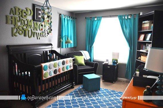 پرده فیروزه ای اتاق بچه / عکس. تزیین شیک اتاق کودک با رنگ آبی و سبز فیروزه ای