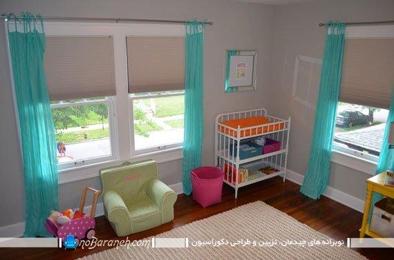 پرده حریر فیروزه ای اتاق کودک / عکس. پرده های فسفری رنگ اتاق کودک نوزاد. تزیین اتاق خواب با رنگ فسفری