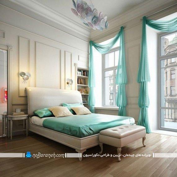 پرده فیروزه ای حریر در اتاق عروس / عکس. تزیین اتاق خواب با رنگ فیروزه ای. دکوراسیون شیک اتاق عروس با فیروزه ای و سفید