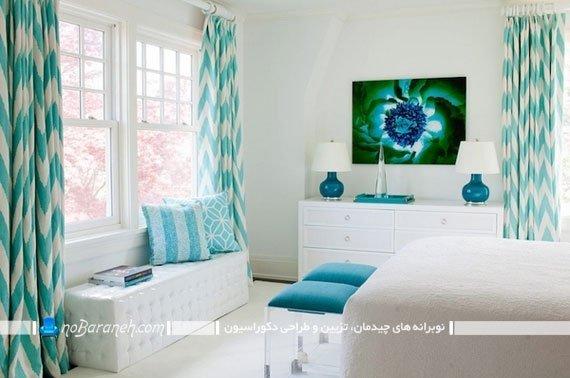 پرده فیروزه ای طرح دار اتاق خواب / عکس. ترکیب رنگ فیروزه ای و سفید در اتاق خواب عروس شیک مدرن فانتزی