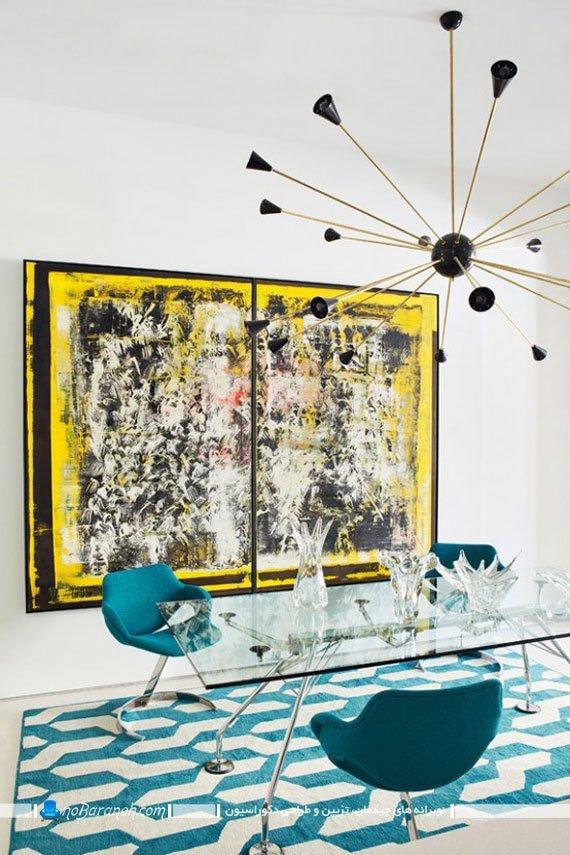 دیزاین اتاق ناهارخوری با آبی و فسفری