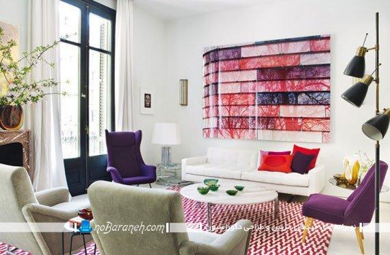دکوراسیون اتاق پذیرایی با رنگهای شاد و روشن