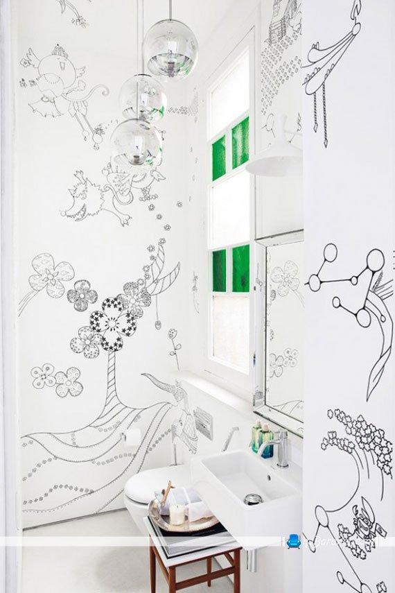 دکوراسیون سرویس بهداشتی با رنگ های شاد و سفید