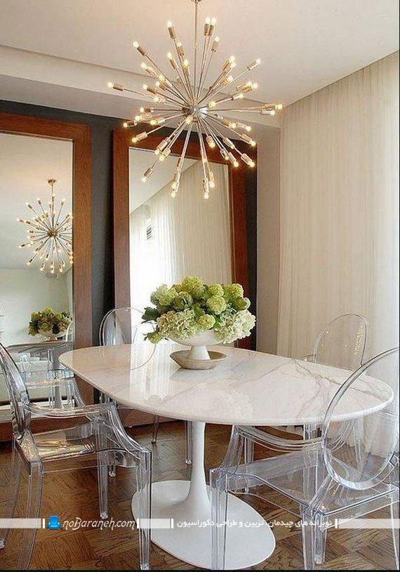 لوستر سقفی فانتزی برای نورپردازی میز ناهار خوری